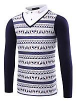 Men's Long Sleeve PoloCotton / Linen / Spandex Casual / Work / Formal / Sport / Plus Size Print / Solid /