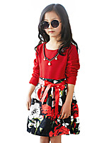 Girl's Casual/Daily Floral DressCotton Spring / Fall Black / Red / White
