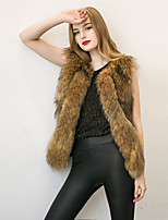Women's Street chic Fur Coat Solid V Neck Sleeveless Winter Black / Brown Faux Fur / PU Thick