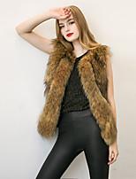Женский Нарядная / На выход / На каждый день Однотонный Пальто с мехом V-образный вырез,Простое / Уличный стиль Зима Черный / Коричневый
