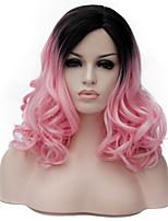 rose en longs cheveux bouclés et le vent discothèque rue des performances couleur millions avec une perruque partielle.