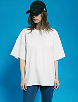 NEATO Women's Going out Simple Summer T-shirtSolid Round Neck  Length Sleeve Blue / Pink / White / Black