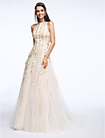 Lanting Bride® A-line Wedding Dress Sweep / Brush Train Jewel Tulle with Flower