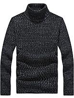 Herren Pullover-Einfarbig Freizeit / Büro / Formal / Sport / Übergröße Polyester Lang Schwarz / Blau / Grau