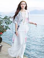 Женский На каждый день Лето Куртка V-образный вырез,Шинуазери (китайский стиль) Цветочный принт Белый Рукав ¾,Другое,Сетчатая / Плотная