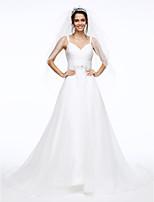 Lanting Bride® Linha A Vestido de Noiva Cauda Corte Com Alças Finas Organza com Franzido / Faixa / Fita / Miçanga / Botão / Cruzado