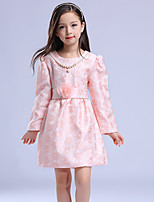 Girl's Casual/Daily Solid DressCotton / Polyester Winter / Fall Pink