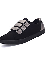 Men's Sneakers Spring Fall Comfort Fabric Outdoor Casual Flat Heel Magic Tape Black Silver Walking