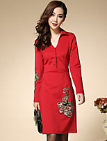 Boutique S Women's Plus Size / Work Chinoiserie Sheath DressEmbroidered V Neck Above Knee Long Sleeve Red