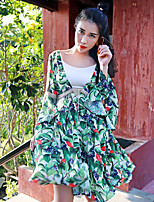 Trapèze Robe Femme Sortie / Vacances Bohème,Imprimé Col en V Au dessus du genou Manches ¾ Vert Polyester Eté Taille Haute Non Elastique