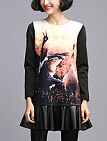 Women's Plus Size / Casual/Daily Simple Sheath DressPrint Round Neck Above Knee Long Sleeve Black Polyester All Seasons