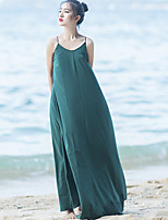 Ramie Cotton Women's Beach Simple Loose DressSolid Strap Maxi Sleeveless Green Spandex Summer