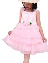 Девичий Платье,На каждый день,Однотонный,Полиэстер,Лето,Розовый / Белый