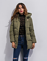 Women's Solid Slim Hin Thin Warm Thick Padded Coat,Simple / Street chic Hooded Long Sleeve