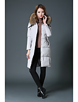 Women's Solid White / Black Down CoatSimple / Street chic Hooded Long Sleeve