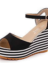 Women's Sandals Summer Platform Customized Materials Casual Wedge Heel Platform Others Black Gray Other