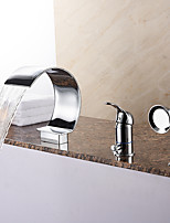 Unique Style Tub Waterfall / Handshower Included with Ceramic Valve 1-Handle 3-Holes for Chrome , Bathtub Faucet
