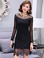 Women's Plus Size / Going out / Casual/Daily Street chic Bodycon / Lace DressSolid Round Neck Above Knee Long Sleeve