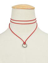 Женский Ожерелья с подвесками Фланелет Сплав Мода Простой стиль Белый Черный Коричневый Красный БижутерияСвадьба Для вечеринок Halloween