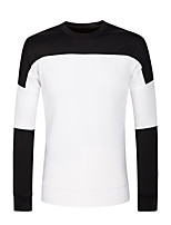 Men's Couple Cotton Casual  Black And White Stitching Long Sleeve Round Neck Sweatshirt Pullover