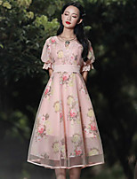 Our Story Women's Going out Vintage Sheath DressFloral Round Neck Knee-length Short Sleeve Pink Rayon / Polyester Summer