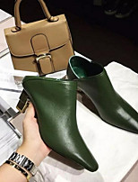 Women's Boots Spring Fall Winter Bootie Leather Outdoor Chunky Heel Others Black Green Burgundy Others
