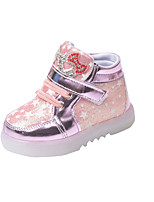 Girl's Sneakers Spring / Fall Comfort PU Casual Flat Heel LED /  Pink / Silver / Gold Others