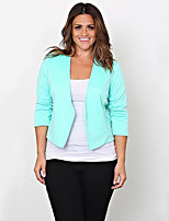 Women's Casual/Daily Simple Fall JacketsSolid Shawl Lapel  Sleeve Green Polyester Medium