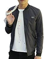 Мужской Хлопок Куртка На каждый день / Для офиса / Для торжеств и мероприятий,Однотонный,Длинный рукав,Синий / Серый
