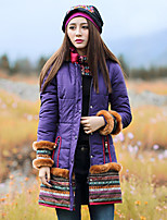 Our Story Women's Long Padded CoatBoho Going out Paisley-Cotton / Polyester Cotton Long Sleeve Hooded Purple