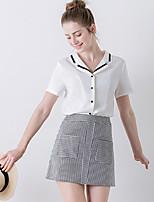 Tee-shirt Femme,Couleur Pleine / Mosaïque Sortie simple Eté Manches Courtes Col en V Blanc Polyester Moyen