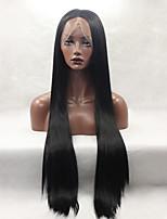 моды длинные прямые синтетические кружева парик фронта бесклеевой черный цвет для женщин париков
