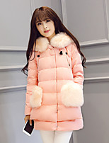 Women's Solid Pink / Gray Down CoatSimple Hooded Long Sleeve