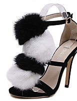 Women's Sandals Summer Sandals Fleece Casual Stiletto Heel Tassel Black Others