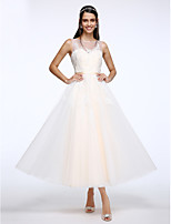 Lanting Bride® A-line Wedding Dress Ankle-length Scoop Tulle with Appliques / Button