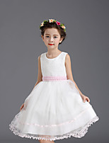 A-line Knee-length Flower Girl Dress - Cotton / Satin / Tulle Sleeveless Jewel with Embroidery / Pearl Detailing