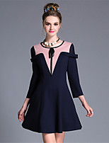AUFOLI Women Clothing Large Size Fashion Simple Vintage Bow Geometry Color Block 3/ Sleeve Dress