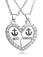 High Quality Best Friends Pendant Necklace Rhinestone Broken Heart Anchors Pendants & Necklaces For Women Men Jewelry