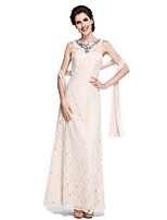 2017 Lanting Bride® Sheath / Column Mother of the Bride Dress Floor-length Sleeveless Lace with Beading