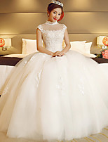 A-line Wedding Dress Floor-length High Neck Lace / Tulle with Appliques / Beading / Sequin