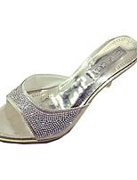 Damen-Sandalen-Lässig-PU-Stöckelabsatz-Komfort-Silber / Gold