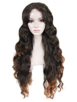 IMSTYLE 26Long Curly Black Brown Ombre Synthetic Lace Front Wig For Black Woman
