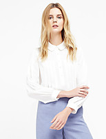 C+IMPRESS Women's Going out Sophisticated Spring / Fall ShirtSolid Shirt Collar Long Sleeve White Polyester Thin