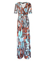 Women's Plus Size Boho Loose DressPrint V Neck Maxi Short Sleeve Blue Polyester Spring / Fall High Rise Stretchy Medium