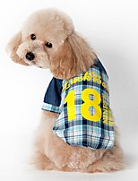 Cat Dog Shirt / T-Shirt Dog Clothes Summer Spring/Fall Plaid/Check Fashion Sports Blue Pink