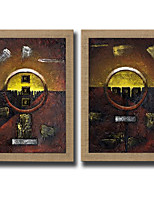 2 Panels Oil Painting Abstract Wall Art Pictures Hand Painted On Natura Linen With Stretched Frame