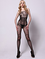Women Sexy Lingerie Temptation Mesh Wave Pattern Printing Sleeveless Conjoined Stockings