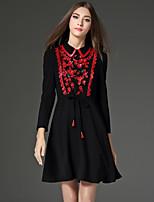 Trapèze Robe Femme Sortie Vintage,Couleur Pleine Col Rond Claudine Au dessus du genou Manches Longues Noir Polyester Automne Taille Haute