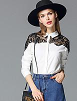 FRMZ  Going out Simple Spring / Fall ShirtSolid Shirt Collar Long Sleeve White / Black Cotton Medium