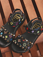 Girl's Sandals Summer Sandals / Open Toe Leatherette Casual Flat Heel Rivet Black / White Others